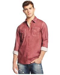 Guess | Red Laguna Pigment-spray Shirt for Men | Lyst