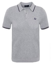 Stussy | Gray Tipped Knit Polo Shirt for Men | Lyst