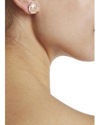 Michael Kors - Metallic Rose Gold Tone Logo Stud Earrings - Lyst
