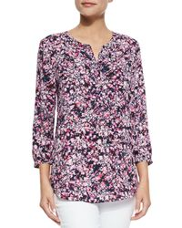 NYDJ | Purple Floral Pleated-back Chiffon Blouse | Lyst