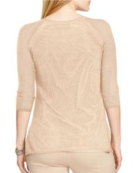 Lauren by Ralph Lauren - Natural Plus Linen-cotton Mesh Sweater - Lyst