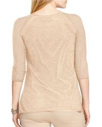Lauren by Ralph Lauren | Natural Plus Linen-cotton Mesh Sweater | Lyst