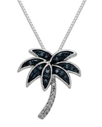 Lord & Taylor | Metallic Sterling Silver Green And White Diamond Palm Tree Pendant Necklace | Lyst