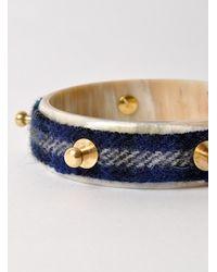 J.W.Anderson - Blue Tartan Single Bolt Horn Bracelet - Last One - Lyst