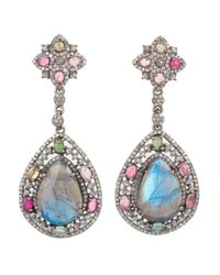 Bavna | Multicolor Sterling Silver Pear Labradorite With Tourmaline And Champagne Rose Cut Pave Diamond Drop Earrings | Lyst