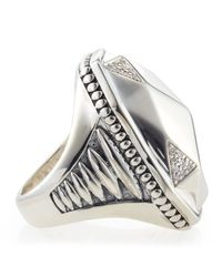 Lagos - Metallic Elongated Pavé Diamond Octagon Ring - Lyst