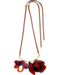 Marni - Red Floral-motif Horn Necklace - Lyst