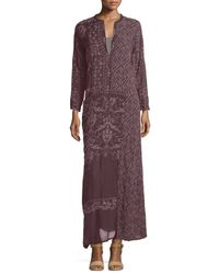 Johnny Was - Purple Long-sleeve Embroidered Maxi Dress - Lyst