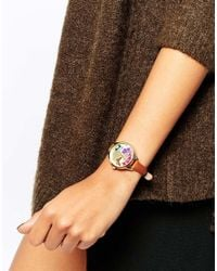 Oasis | Brown Butterfly Print Dial Tan Leather Watch | Lyst