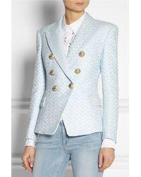 Balmain | Blue Tweed Blazer | Lyst