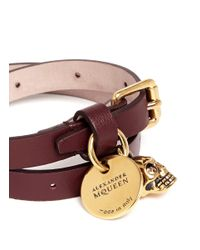 Alexander McQueen | Purple Skull Charm Double Wrap Leather Bracelet | Lyst