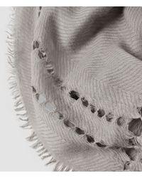 AllSaints | Gray Spine Scarf | Lyst