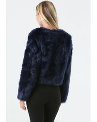 Bebe | Blue Faux Fur Evening Jacket | Lyst