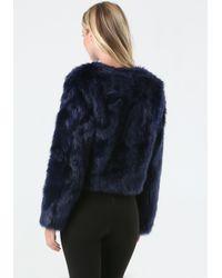 Bebe - Blue Faux Fur Evening Jacket - Lyst