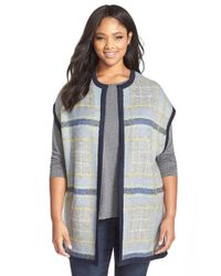Two By Vince Camuto | Blue Plaid Jacquard Long Cardigan | Lyst