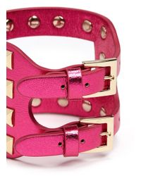 Valentino | Pink Rockstud Cutout Metallic Leather Bracelet | Lyst