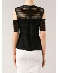 Yigal Azrouël - Black Striped Off-Shoulder Top - Lyst
