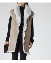 Reiss | Gray Lexi Reversible Shearling Gilet | Lyst