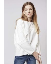TOPSHOP | White Contrast Grograin Sweatshirt | Lyst
