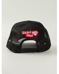 DSquared² - Black Embroidered Baseball Cap for Men - Lyst