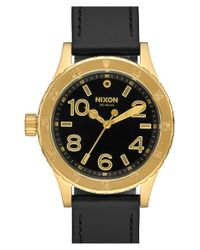 Nixon | Black 'the 38-20' Leather Strap Watch | Lyst