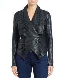 Blank - Black Pleated Faux Leather Jacket - Lyst