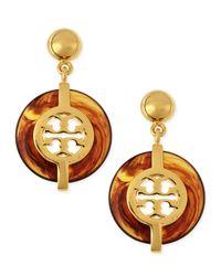 Tory Burch - Brown Tortoise Deco Logo Drop Earrings - Lyst
