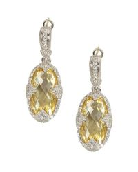Judith Ripka | Metallic Canary Crystal And White Sapphire Oval Drop Earrings | Lyst