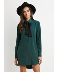 Forever 21 | Green Self-tie Neck Shirt Dress | Lyst