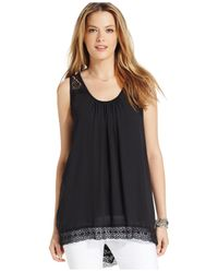 Karen Kane | Black Lace-trim Tank Top | Lyst