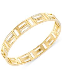 Swarovski | Metallic Cubist Gold-plated Crystal Bangle Bracelet | Lyst