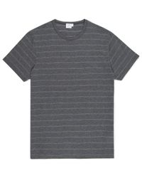 Sunspel | Gray Men's Long-staple Cotton T-shirt With Dot Stripe for Men | Lyst
