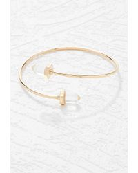 Forever 21 | Metallic Faux Stone Curve Bangle | Lyst