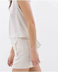 Zara | White Cut-out T-shirt | Lyst