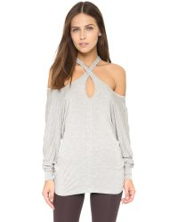 David Lerner | Gray Cross Neck Top - Light Heather Grey | Lyst