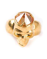 Alexander McQueen Metallic Skull Diamond Ring