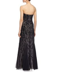Aidan Mattox - Black Beaded Strapless Gown - Lyst