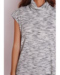 Missguided | Gray Space Dye Ribbed Roll Neck Vest | Lyst