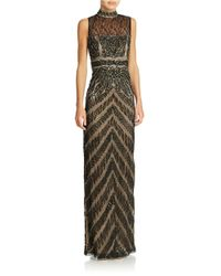 Sue Wong - Black Mockneck Sleeveless Column Gown - Lyst