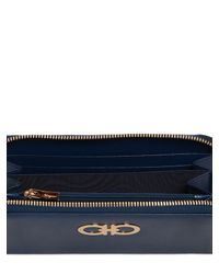 Ferragamo | Blue Gancini Saffiano Leather Wallet | Lyst