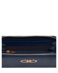 Ferragamo - Blue Gancini Saffiano Leather Wallet - Lyst