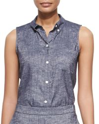 Theory - Blue Yarine Sleeveless Chambray Top - Lyst