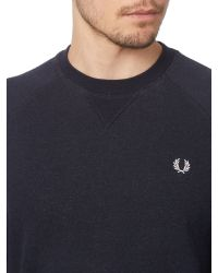 Fred Perry | Blue Plain Crew Neck Jumper for Men | Lyst