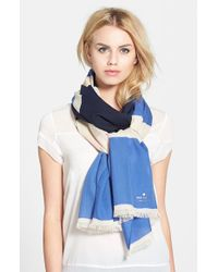 kate spade new york - Blue 'holiday' Textured Stripe Scarf - Lyst