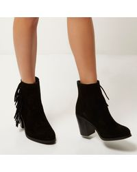 River Island - Black Suede Fringed Ankle Boots - Lyst