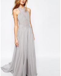 Fame & Partners | Gray Drama Queen Maxi Dress With Open Back | Lyst