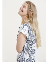 Violeta by Mango | Blue Printed Cotton T-shirt | Lyst