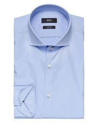 BOSS - Blue Slim Fit Jery Trimmed Shirt for Men - Lyst