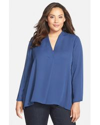 NIC+ZOE | Blue 'majestic' Matte Satin V-neck Blouse | Lyst