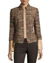 Lafayette 148 New York - Black Orah Tweed Jacket With Leather Detail - Lyst